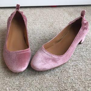 J. Crew Soft Pink Velvet Low Block Heels Size 8